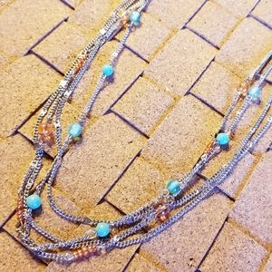 Four Layered Bead and Chain Necklace